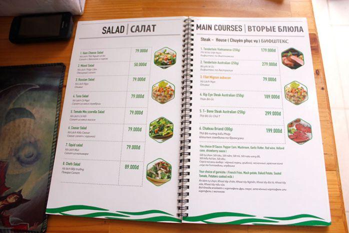 in menu quán ăn