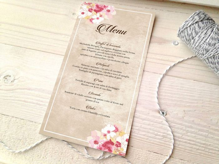 in menu tiệc cưới