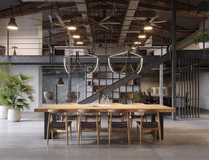 Nội thất văn phòng phong cách công nghiệp