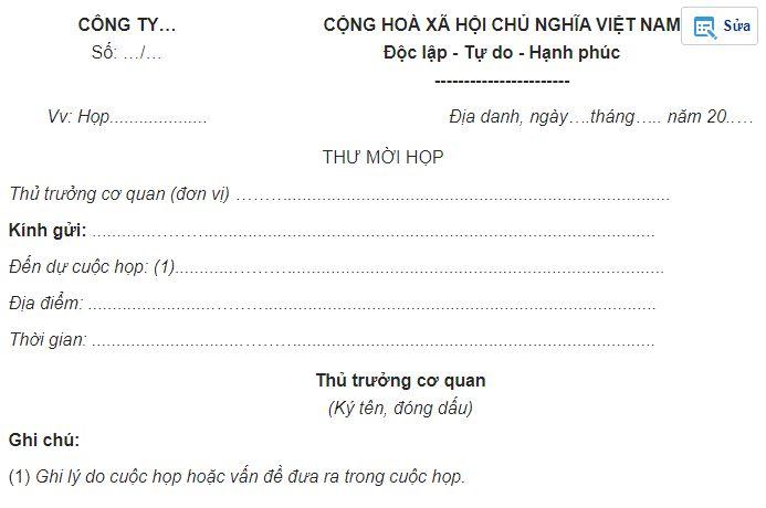 mẫu thư mời họp form 1