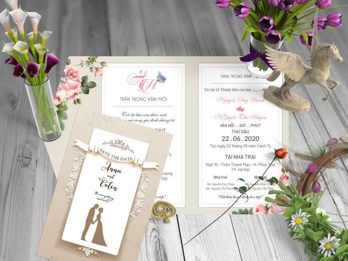 thiệp cưới sử dụng giấy mỹ thuật