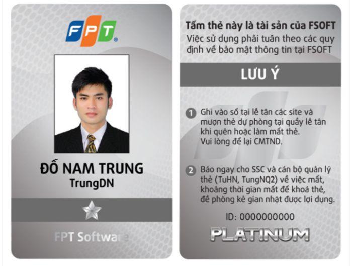 mẫu thẻ đep nhân viên FPT