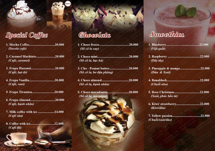 Mẫu thiết kế menu quán café
