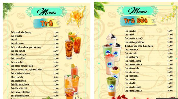 Mẫu thiết kế menu trà sữa đẹp