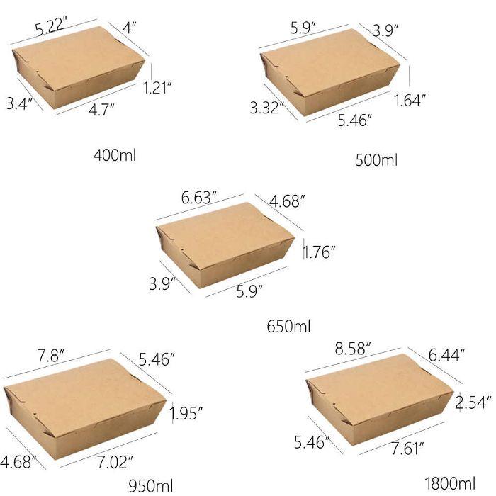Kích thước hộp giấy đựng thức ăn phổ biến