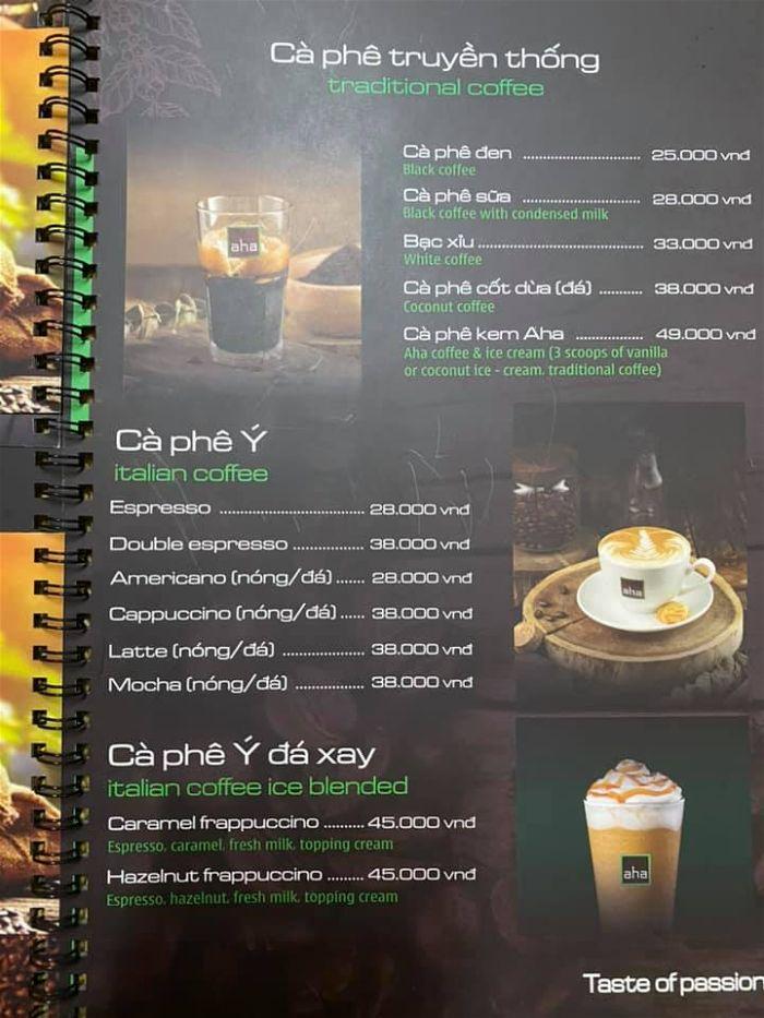 menu cafe aha